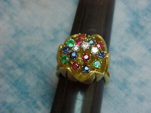 MESMERIZING 14K GOLD DIAMONDS EMERALDS RUBIES BLUE SAPPHIRES TULIP COCKTAIL RING