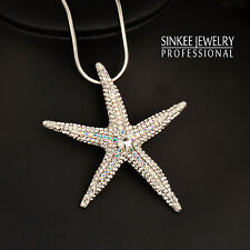 Charm Rhinestone Starfish Big Pendant Long Necklace 18K White Gold Chain My436