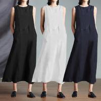 UK 8-26 Womens Sleeveless Casual Long Sundress Cover Up Beach Cotton Smock Dress