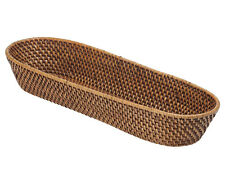 Kouboo, Laguna Handwoven Rattan Bread Basket, 18 x 6 x 3 inch, Honey Brown