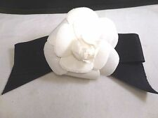 """Auth CHANEL Camelia Corsage Flower Brooch BOW  White/ BLACK  Vintage 3.5"""" BUD"""
