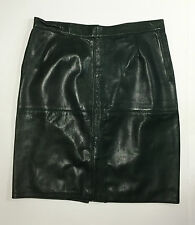 Gonna genny vera pelle artigianale skirt leather TG 44 46 verde usato T644