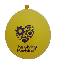 Pack of 50 TheGivingMachine charity latex balloons, yellow with purple heart