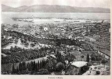 Messina: Panorama con Porto,Stretto e Calabria.Grande Veduta.Sicilia.Sicily.1892