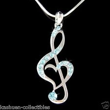 Blue w Swarovski Crystal TREBLE G CLEF MUSIC MUSICAL NOTE Heart Pendant Necklace