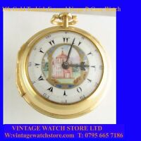 Stunning 18k Gold Turkish Enamel Fusee Verge  P-Case Pocket Watch 1799
