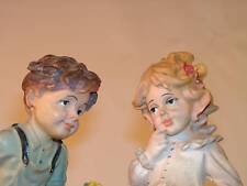 "VTG signed handpainted 8"" figurine - Boy & Girl with loving eyes, flowers, goose"