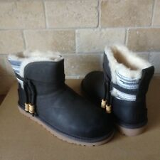 UGG Auburn Serape Charcoal Leather Water-resistant Mini Boots Size US 6 Womens