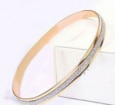1x Circle Hoop Glittered Bangle Bracelet Charm Frosted Gold Colour Gift gldB17