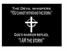 The Devil Whispers to God's Warrior Car Window Vinyl Decal Sticker Jesus White