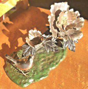 "Okimono Sparrow Bird Floral Branch Bronze Enamel Meiji Sculpture Japan 10"" table"