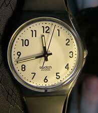 Men's Swatch ORIGINAL BLACK White Face Glow Hands Retro Watch 1994 GB169 Working