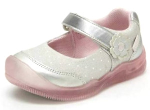 Surprize Stride Rite Sandy Toddler Girls Washable Light-Up Silver/Pink Sneakers