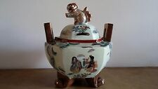 ANTIQUE JAPANESE CENSER SATSUMA STYLE WITH GEISHA AND FOO DOG FINIAL