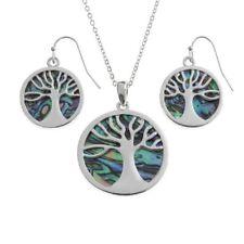Abalone Paua Shell Silver Tree of Life Pendant Necklace Earrings Set BellaMira