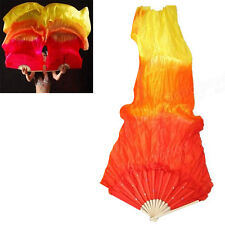 AU Hand Made Colorful Belly Dance Dancing Silk Bamboo Long Fans Veils Art 1.8m
