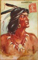 1909 Native American Postcard: Hiawatha - L. Peterson/Artist-Signed, Tammen