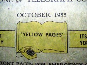 "Fantastic Oct.1955 Telephone Book ""New England Telephone CO."" Yellow Pages   *"