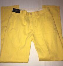"BNWT Ralph Lauren Yellow Cotton Flat Front Chino/Trouser. Size 32"" X34"""