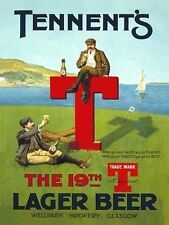 Tennent's Lager Beer, Golf 19th Hole, Pub Bar & Restaurant, Small Metal/Tin Sign