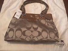 Coach Penelope Signature Shopper Sateen Tote Bag~NEW~Nutmeg/Khaki~ $348 Value~