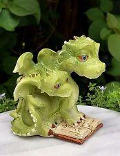 Miniature Dollhouse FAIRY GARDEN ~ Mama Dragon Reading a Book with Baby ~ NEW