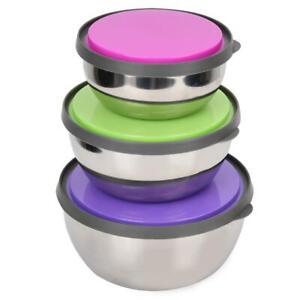 3Pcs Stainless Steel+ PP  Bowl With Lid Food Storage Heat-resisting Box