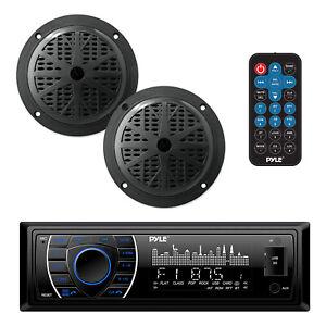 Pyle PLMRKT46BK 5.25 Inch Bluetooth Marine Receiver Stereo & Speaker Kit, Black