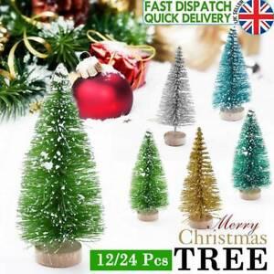 12/24Pcs Mini Christmas Tree Decor Cedar Ornaments Miniature Desktop Trees Party