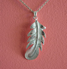 925 Sterling Silver Big Feather Charm Necklace - Shiny Feather Pendant Necklace