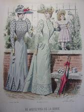 """40/ GRAVURE DE MODE """" Moniteur de la Mode Paris 1891 """".   Grand format 36x26"""