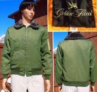 vintage 70's GOLDEN FLEECE bomber jacket faux fur collar security SPIEWAK mens S