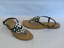 """Coach """"Roseann"""" Black/White Patent Leather Thong/Sandal/Sliver Metal Buckle -10M"""