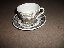 BARRATTS STAFFORDSHIRE WARE-CUP & SAUCER-BROWN/CREAM-ELIZABETHAN DESIGN-GOOD CON