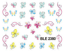 Spring Flowers Butterflies Water Transfers Nail Art Sticker Decals UV Decoration