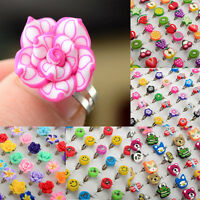 100/50pcs Wholesale Lots Bulk Mixed Polymer Clay Children Kids Boys Finger Rings