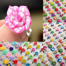 100/50pcs Wholesale Lots Mixed Polymer Clay Children Kids Boys Finger Rings Hot