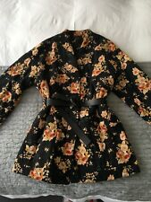Zara Floral Quilted Jacket with Faux Leather Belt - Size Medium