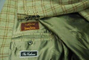 BRIONI men's pure cashmere sport jacket coat soft olive w/brown windowpane 46R