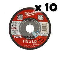 MILWAUKEE 10 Dischi da Taglio Sottili PRO Metallo Ø115mm x1mm per Smerigliatrice