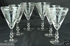 VINTAGE WINE/WATER GLASS SET 6 CONUS SHAPED ETCHED GLASSWARE STEMWARE