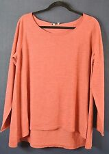 NEW EILEEN FISHER Tomato Red Scoop Neck High/Low Hem Boxy Sweater Size L