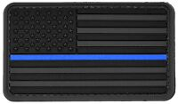 PVC Morale Patch American US Flag Blue Line Police 3D Badge Hook #51