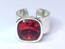 SWAROVSKI ELEMENTS CRYSTAL RING RED SCARLET SILVER PLATED ADJUSTABLE 12mm stone