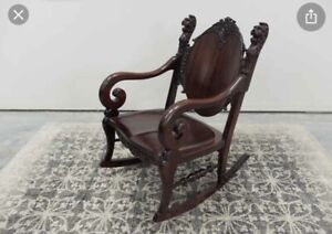 Antique Victorian Rocking Chair R J Horner Lions Head Rocking Chair