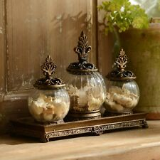 Antique Gold Filigree Glass Jar, Set of 3 Vintage Canister With Tray Kitchen New