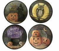 "Halloween Cat Cauldron Owl Raven Melamine Candy Appetizer Plates 6"" Set of 4"