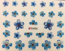 Nail Art 3D Decal Stickers Blue Flowers E406