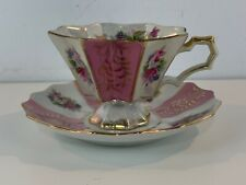 Vintage Japanese Iridescent Porcelain Cup and Saucer with Pink Floral Dec.