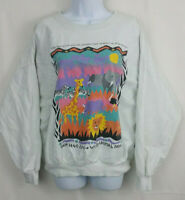 SAN DIEGO ZOO Womens MEDIUM Long Sleeve Crinkle Shirt Lion Elephant Cute Vintage